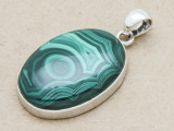 Sterling Silver & Malachite Pendant 40mm (GSP816)