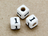 "Ceramic Alphabet Bead ""1"" - 6mm (CER11)"