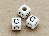 "Ceramic Alphabet Bead ""C"" - 6mm (CER21)"