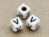 "Ceramic Alphabet Bead ""V"" - 6mm (CER40)"