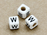 "Ceramic Alphabet Bead ""W"" - 6mm (CER41)"