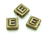 Brass Pewter - E - Square Bead 10mm (PB623)
