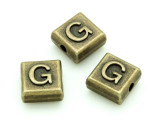 Brass Pewter - G - Square Bead 10mm (PB625)