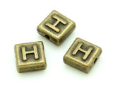 Brass Pewter - H - Square Bead 10mm (PB626)