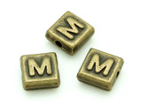 Brass Pewter - M - Square Bead 10mm (PB631)