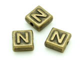 Brass Pewter - N - Square Bead 10mm (PB632)