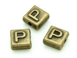 Brass Pewter - P - Square Bead 10mm (PB634)