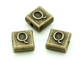 Brass Pewter - Q - Square Bead 10mm (PB635)