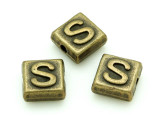Brass Pewter - S - Square Bead 10mm (PB637)