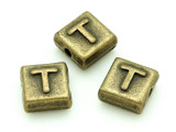Brass Pewter - T - Square Bead 10mm (PB638)