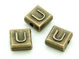 Brass Pewter - U - Square Bead 10mm (PB639)