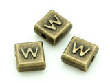 Brass Pewter - W - Square Bead 10mm (PB641)