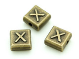 Brass Pewter - X - Square Bead 10mm (PB642)