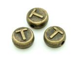 Brass Pewter - T - Round Bead 10mm (PB661)