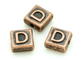 Copper Pewter - D - Square Bead 10mm (PB665)