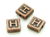 Copper Pewter - H - Square Bead 10mm (PB667)
