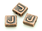 Copper Pewter - J - Square Bead 10mm (PB669)