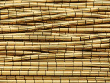Gold Electroplated Hematite Tube Gemstone Beads 4mm (GS3706)