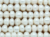 Ivory Irregular Rondelle Pearl Beads 10mm - Large Hole (PRL165)