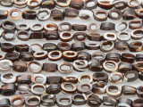 Brown and White Oval Donut Tabular Shell Beads 6mm (SH513)