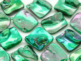 Emerald Green Metallic Diamond Blister Shell Beads 18-24mm (SH518)
