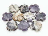 Cape Amethyst Tabular Cross Gemstone Beads 40mm (GS3760)