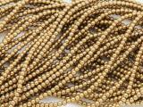 Brass Electroplated Hematite Round Gemstone Beads 2mm (GS3776)