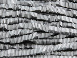 Silver Electroplated Hematite Square Heishi Gemstone Beads 4mm (GS3805)