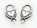 Pewter Heart Lobster Clasp 26mm (PB720)