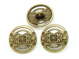 Brass Pewter Bead - Flower Button 17mm (PB792)