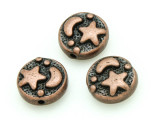 Copper Pewter Bead - Moon & Star 9mm (PB794)