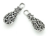 Flower Teardrop - Pewter Pendant 36mm (PW807)