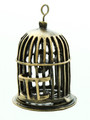 Brass Birdcage w/Bird - Pewter Pendant 45mm (PW814)