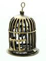 Brass Birdcage w/Bird - Pewter Pendant 45mm (PW814)