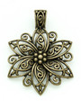Brass Ornate Flower - Pewter Pendant 66mm (PW823)