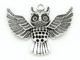 Flying Owl - Pewter Pendant 50mm (PW840)