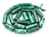 Malachite Faceted Tube Gemstone Beads 10-21mm (GS3913)