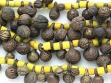 Yoruba Brass Bells w/Glass Trade Beads 12-20mm - Nigeria (AT7156)