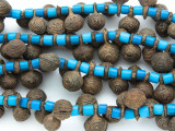 Yoruba Brass Bells w/Glass Trade Beads 16-24mm - Nigeria (AT7157)