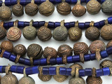 Yoruba Brass Bells w/Glass Trade Beads 16-24mm - Nigeria (AT7158)