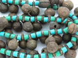 Yoruba Brass Bells w/Glass Trade Beads 18-22mm - Nigeria (AT7159)