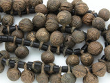 Yoruba Brass Bells w/Glass Trade Beads 18-26mm - Nigeria (AT7160)