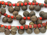 Yoruba Brass Bells w/Glass Trade Beads 14-24mm - Nigeria (AT7166)