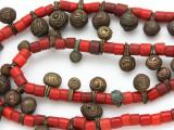 Yoruba Brass Bells w/Glass Trade Beads 14-20mm - Nigeria (AT7167)