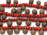 Yoruba Brass Bells w/Glass Trade Beads 16-18mm - Nigeria (AT7168)