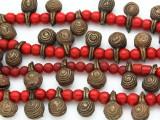Yoruba Brass Bells w/Glass Trade Beads 16-18mm - Nigeria (AT7168)