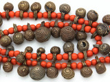 Yoruba Brass Bells w/Glass Trade Beads 14-23mm - Nigeria (AT7169)