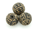 Carved Round Clay Bead 24-27mm - Mali (CL189)