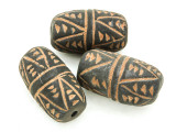 Carved Barrel Clay Bead 36-39mm - Mali (CL194)