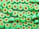 Green w/Sunflower Polymer Clay Round Beads 10mm (CL197)